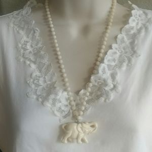Vintage Bead Elephant Animal Necklace Ivory Color